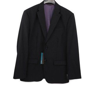 Perry Ellis Mens Two Button Suit Jacket Black Wool
